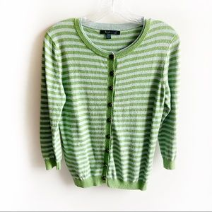 Boden blue green striped cardigan buttons cashmere